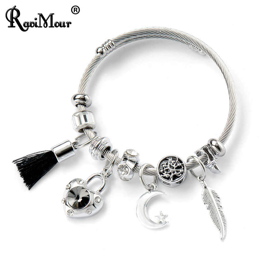 RAVIMOUR Stainless Steel Bracelet Femme Fashion Twisted Wire Cuff Bangle DIY Tassel Heart Lock Leaf Charm Women Bracelet Jewelry