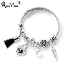 RAVIMOUR Stainless Steel Bracelet Femme Fashion Twisted Wire Cuff Bangle DIY Tassel Heart Lock Leaf Charm Women Bracelet Jewelry(China)