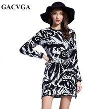 Gacvga осень-зима платье Повседневное Винтаж вязаный свитер деловая модельная одежда Для женщин Сексуальная Bodycon Платья для вечеринок плюс Размеры Vestidos