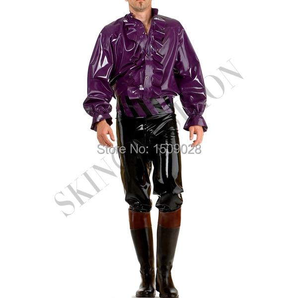 Резиновая топы с длинными рукавами Блузка латекс Тис без Штаны