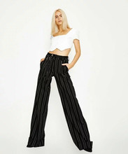 Striped Wide Leg Long Pants Women Black Loose Casual Palazzo Pants New Fashion High Waist Trousers girls frilled waist palazzo leg pants