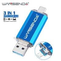 WANSENDA usb 3.0 Type C clé USB 128 go lecteur de stylo OTG 32 go 64 go 256 go 512 go clé USB 3 en 1 clé usb disque mémoire Flash