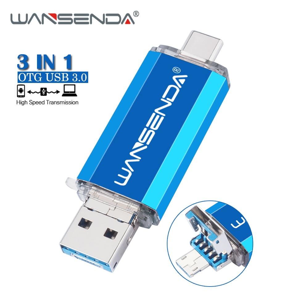 WANSENDA Usb 3.0 Type C USB Flash Drive 128GB OTG Pen Drive 32GB 64GB 256GB 512GB Pendrive 3 IN 1 USB Stick Flash Memory Disk