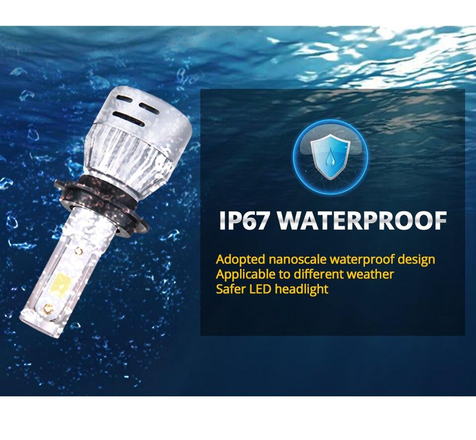 Aceersun H4 LED H7 Car Headlight H1 H8 H9 9005 9006 8000lm 4300K 6500K MINI 72W Auto Hi Lo Beam 12V And 5V USB Small stage light (16)