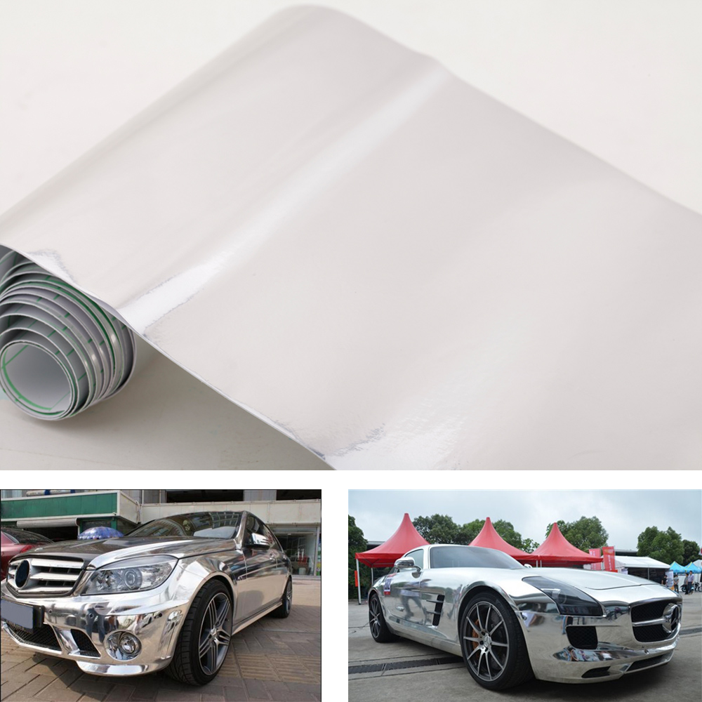 Aliexpress Buy 660 Chrome Mirror Silver Vinyl Wrap Sticker Decal Film Sheet Self Adhesive Air Bubble Car Motorcycle Body Cover From