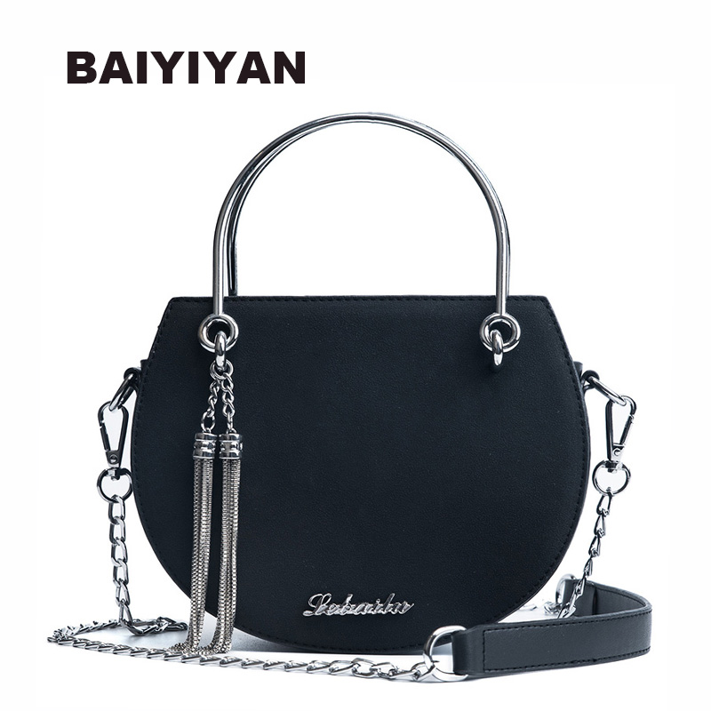 New Fashion Delicate Mini PU Leather Handbag Metal Chain Tassel Shoulder Bag Crossbody Bag Small Round Package Women's Bag