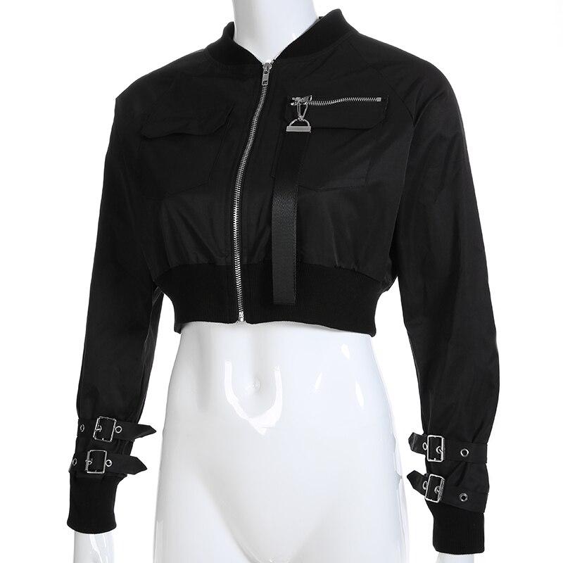 Rapcopter Outerwear Coat Bomber Jacket Women Patch Long Sleeve Autumn Jacket Pocket Hig Waist Buckle Zipper Streetwear Jacket