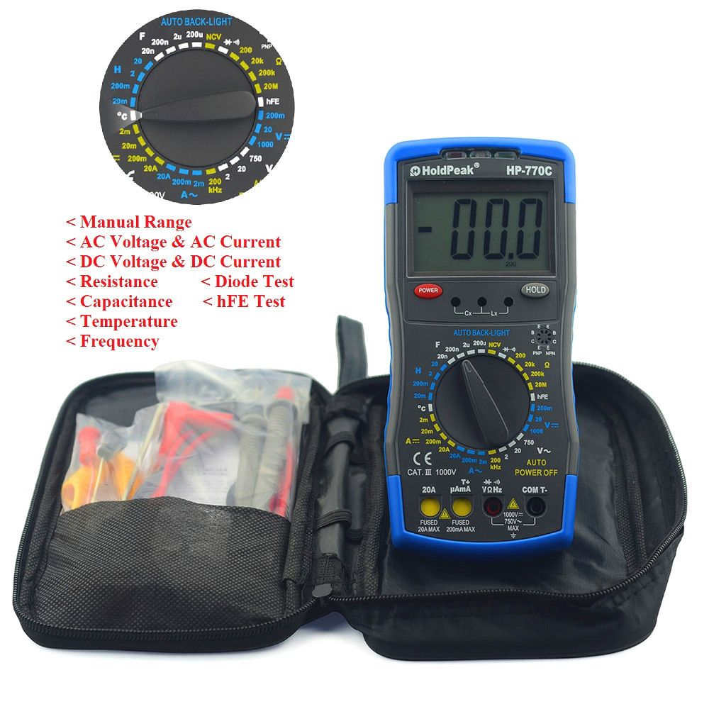 HoldPeak HP-770C Digital LCR Multimeter with Inductance/Frequency Test Manual Capacitance Meter my68 handheld auto range digital multimeter dmm w capacitance frequency