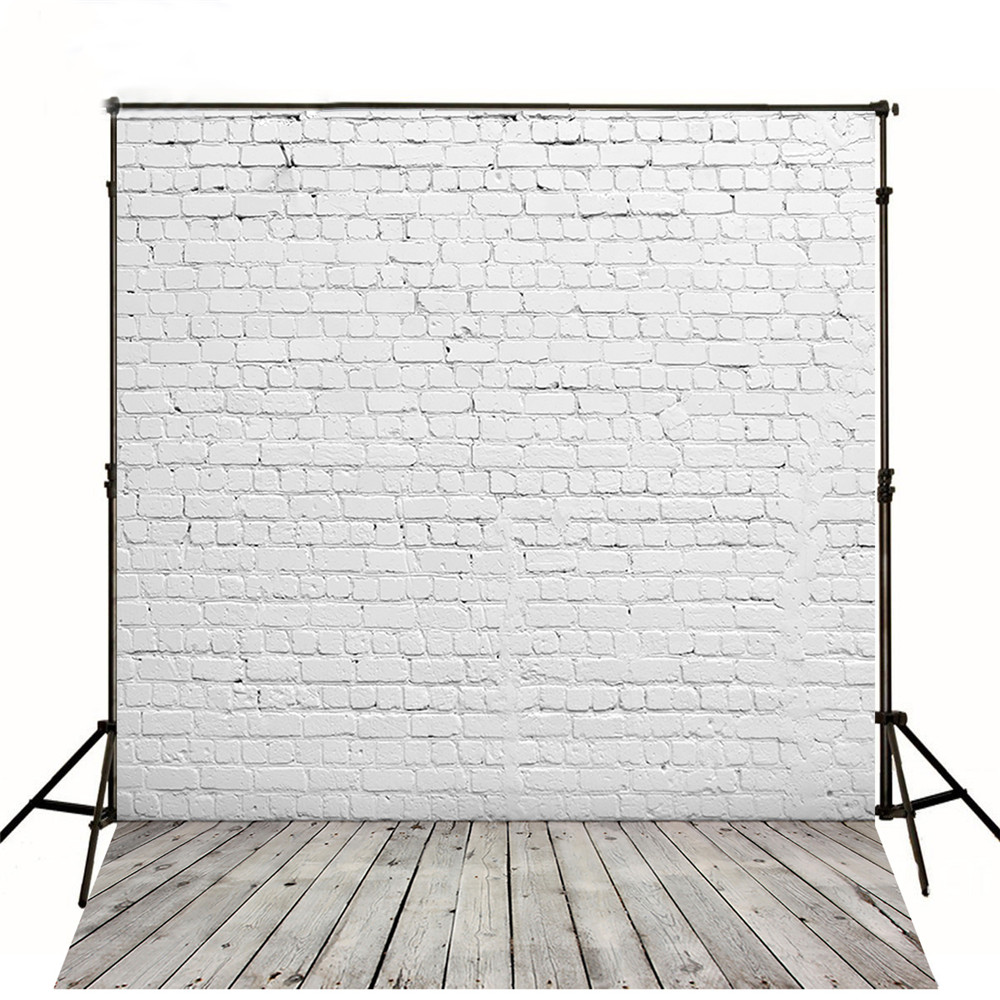White Brick Wall Photography Backdrops Wood Floor Baby New Born Photoshoot Props Kids Children Photo Backgrounds for Studio infant baby children handprint footprint white contracted hanging wall photo frame christmas gifts for children scale 3 5