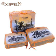 DINIWELL 3 PCS Cartoon Printing Travel Suitcase Tidy Nylon Storage Bag For  Clothes Zipper Mesh Pouch