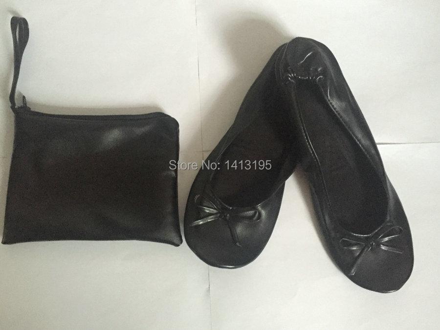 Gratuite Favorable Noir Pliable Poche Nouveau Femmes Style Confort Livraison Plat Ballerine Chaussures Avec IXqd6
