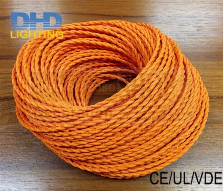 Free shipping 25metersroll fabric cable vintage edison filament bulb DIY pendant cord 2*0.75 orange braided textile fabric wire
