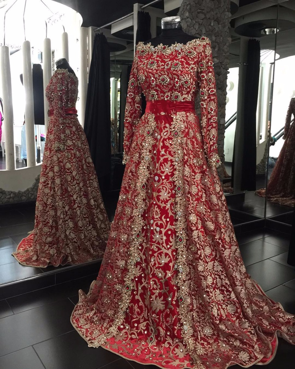 Red Gold Long Sleeves India Dubai Evening Dresses