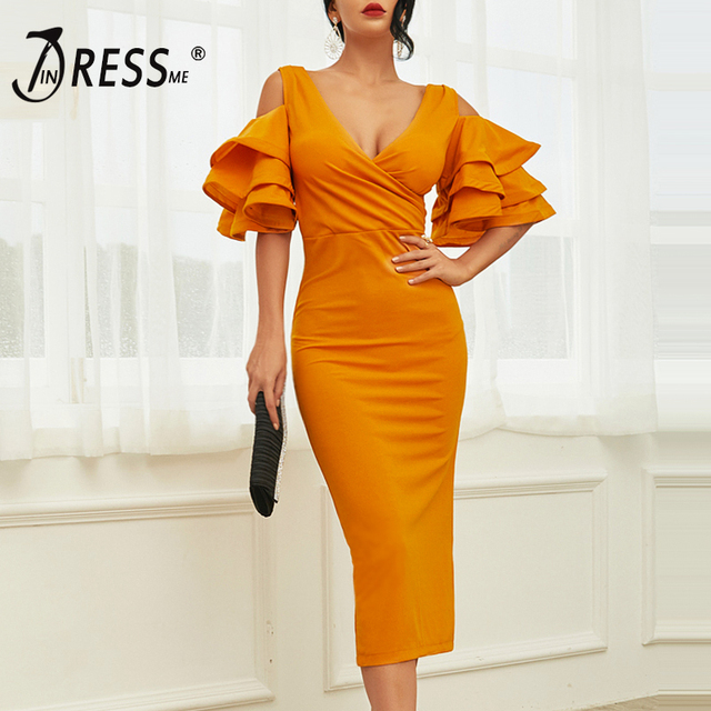 INDRESSME 2019 New Women Yellow Ruffle Butterfly Short Sleeve Dress Summer V-Neck Vestidos Celebrity Party Dress Midi Club Dress