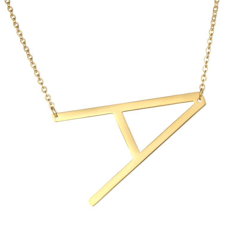 fashion letter necklaces pendants alfabet initial necklace gold stainless steel choker necklace women jewelry kolye collier