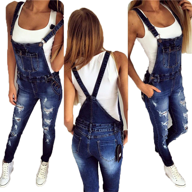 Spring Autumn Women Overalls Holes Washed Women Overall Skinny Pocket Denim Overalls Women Plus Size Rompers Womens Jumpsuit