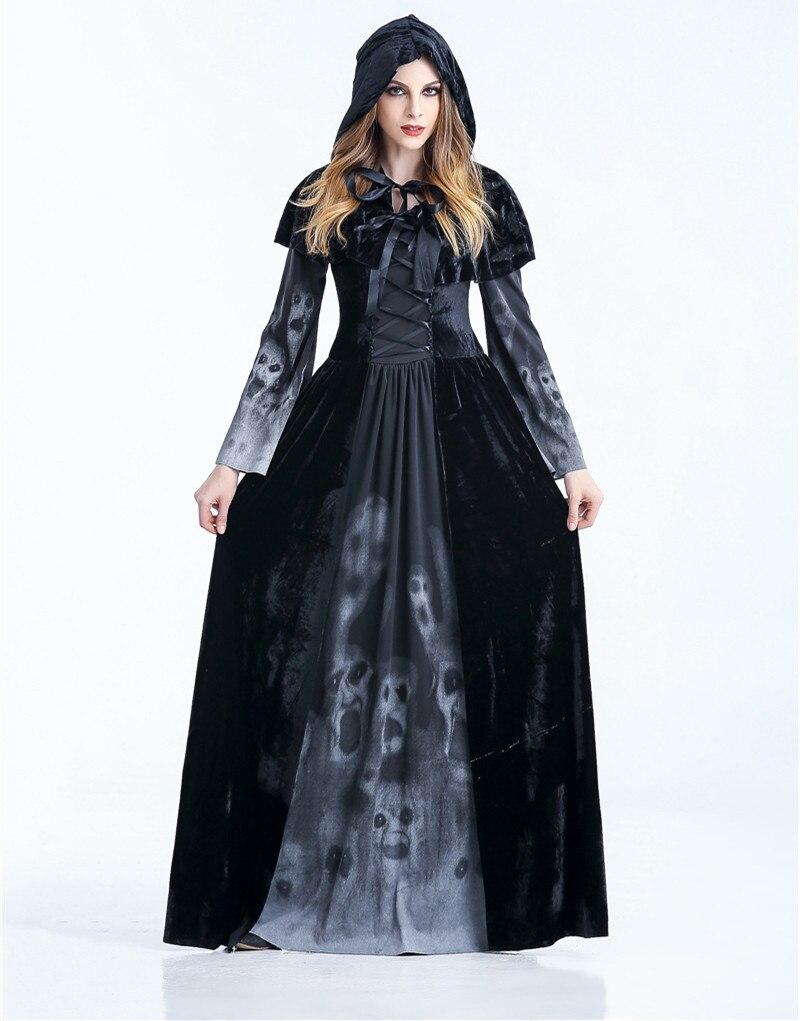2018 Medieval Renaissance Adult witch Gothic Queen of Vampire Black Fancy  Dress Halloween Women Cosplay Costume 269d5c873642