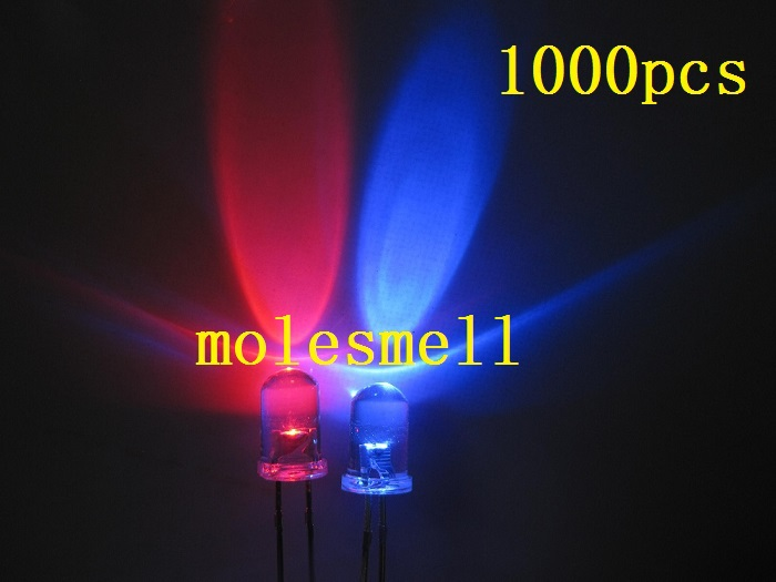 1000pcs 5mm Dual Bi Color Polar Changing Red blue Led water clear Leds 2 Pin led