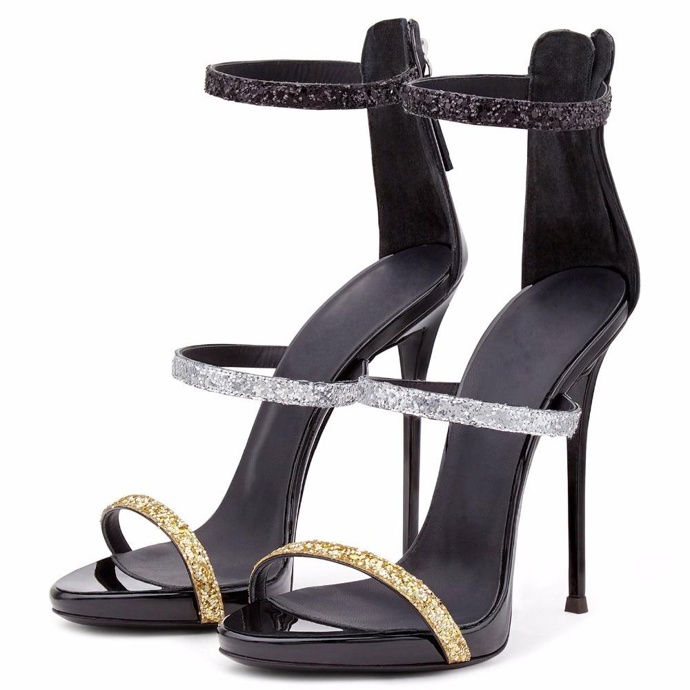 อาร์เดน Furtado 2018 ฤดูร้อนรองเท้าส้นสูง 12 เซนติเมตรรองเท้าส้นสูงเปิดรองเท้าแตะส้น glitter ซิปแพลตฟอร์มรองเท้าแตะขนาดใหญ่แฟชั่นรองเท้า-ใน รองเท้าส้นสูง จาก รองเท้า บน   3