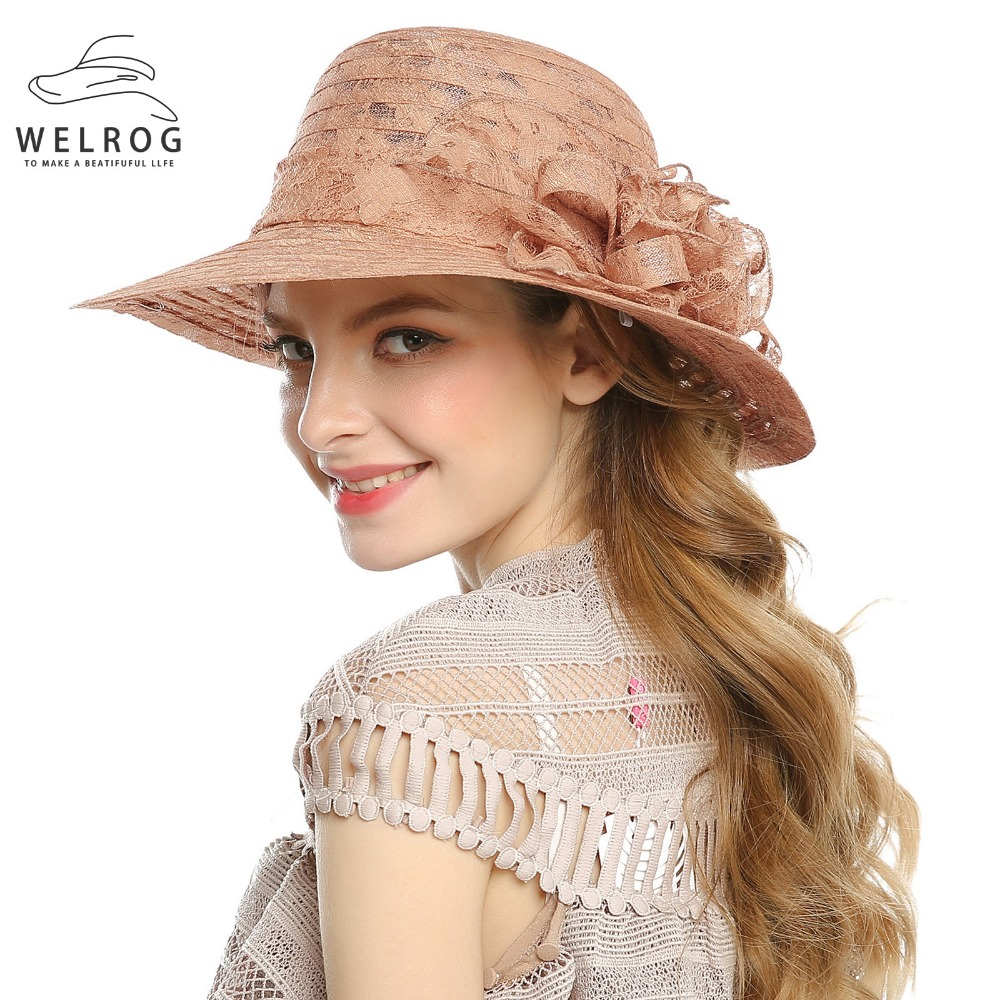 WELROG New Summer Fedoras Hat Female Spring New Wedding Hat Europe All-match Elegant Female Party Cap Girls <font><b>Church</b></font> Wear image