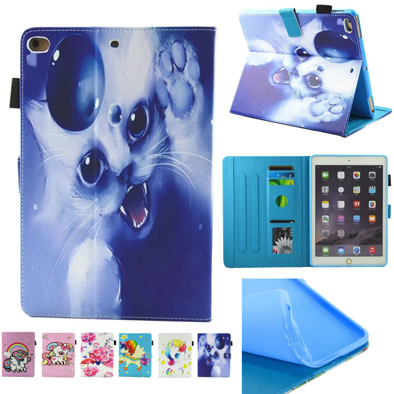 For Ipad 5 6 ipad Air 2 Flamingo unicorn PU Leather Flip Stand Cover Cases For New iPad 2017 9.7 1822 A1823 Tablet Cover Case