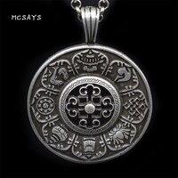 MCSAYS Norse Viking Jewelry Tibetan Buddhism Six Word Mantra Pendant Link Chain Viking Necklace Amulet Handmade