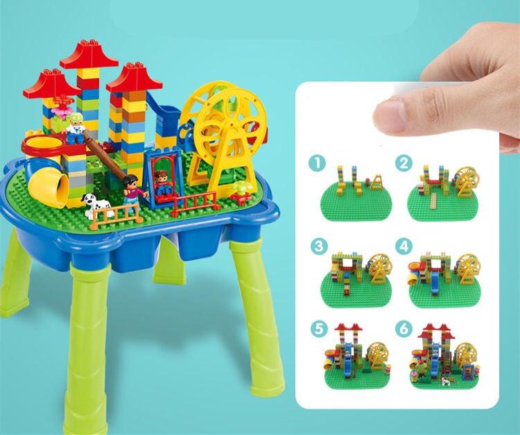 [Top] Multifunctionele Onderwijs Bouwstenen Tafel Bureau Speelgoed Pretpark Reuzenrad Blokken Diy Assemblage Model kids Gift - 4
