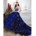Reais Vestidos de Azul Quinceanera Masquerade Bola Vestidos Plissados Beads Vestidos De 15 Años Debutante Doce 16 Vestidos Custom Made
