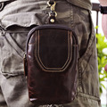 Crazy Horse Genuine Leather Men Vintage Waist Bag Travel Camera Cell/Mobile Phone Case Hip Belt Small Bag Male Fanny Hook Pack