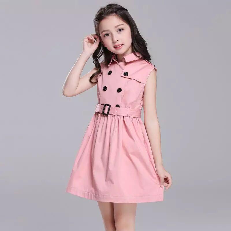 2019 nouveau été rose double boutonnage polocol filles robe fête formelle haute qualité Boutique enfants robes pour filles 6 8 10 12Y