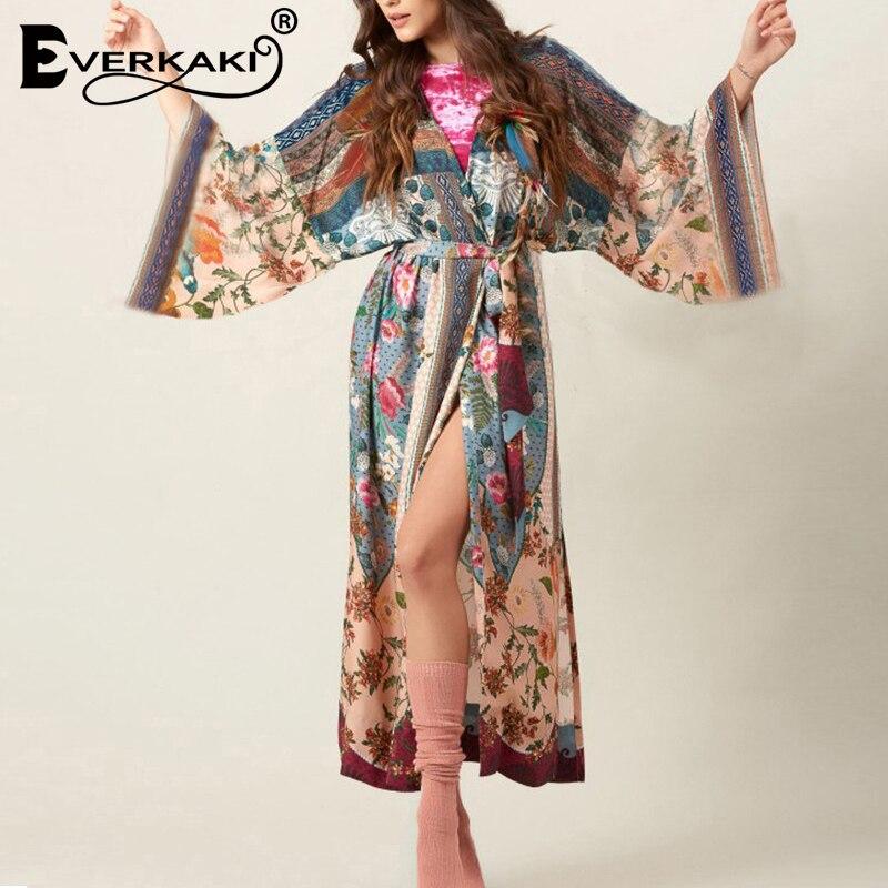 Everkaki Kimono Vintage Loose Floral Printed Open Stitch Sleepwear Coat Bohemian Sash Belted Long Sleeve Sexy Kimono