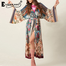 Everkaki Kimono Vintage Loose Floral Printed Open Stitch Sleepwear Coat Bohemian Sash Belted Long Sleeve Sexy
