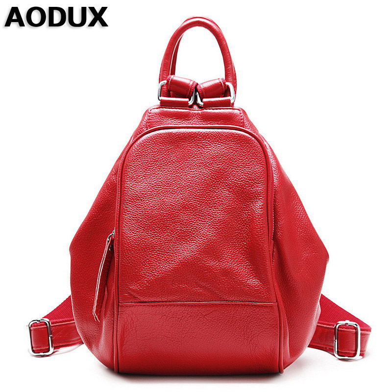 AODUX 100% Genuine Cow Leather Women's Backpack Female Top Layer Cowhide Ladies Bags First Layer Cow Leather Ladies' Backpack