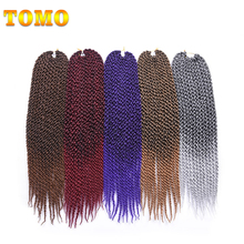 "TOMO Long 3D Cubic Twist 22"" 12strands 100g/pack Crochet Braids Hair Extensions 7packs Synthetic Ombre Braiding Hair(China)"