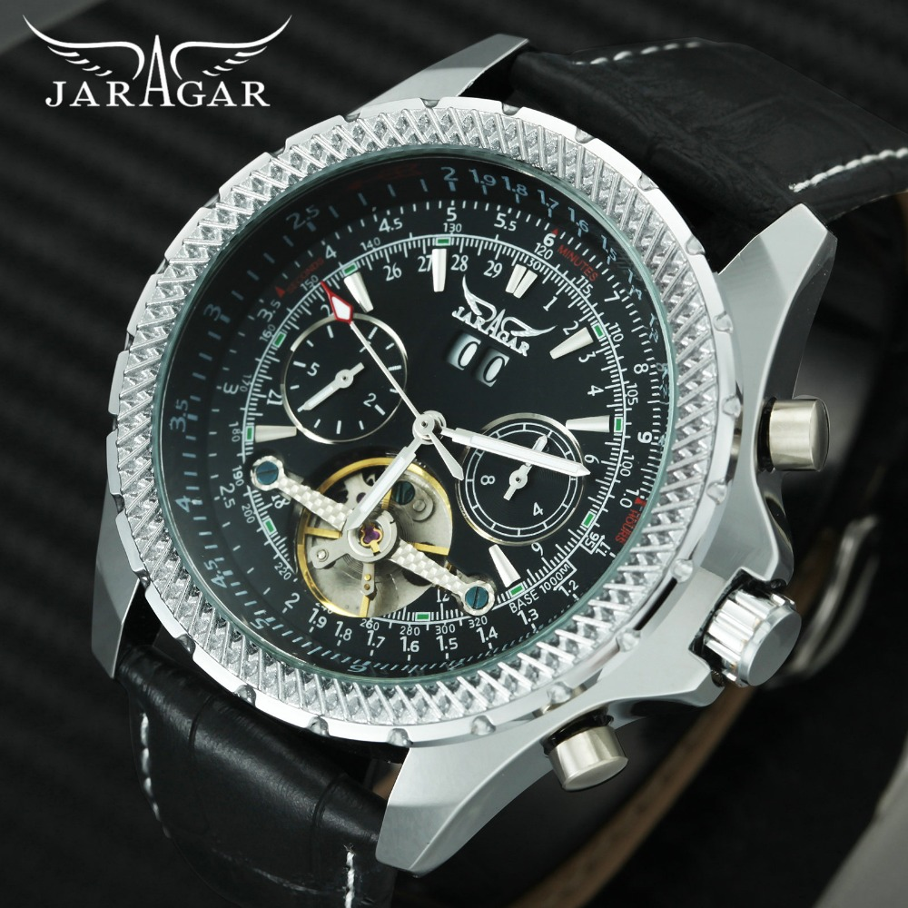 лучшая цена JARAGAR Cool Black Tourbillon Automatic Mens Watches Skeleton Mechanical Calendar Watch Men Leather Strap Top Brand Luxury Clock