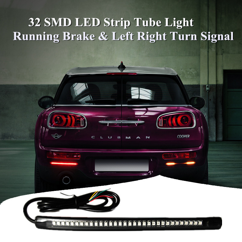 Flexible 32SMD Glue Board Strip Light Red Yellow Dual Color with Brake & Turn Signals Car/Motorcycle/Truck/Trailer/Auto Vehicles