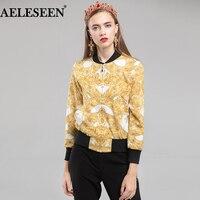 AELESEEN Runway Vintage Short Jackets 2018 Autumn Winter Fashion Gold Chain Printed Bomber Jacket Women
