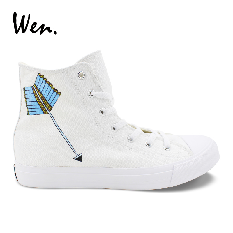 Wen Tribal Arrow Custom Hand Painted Shoes Boy Vulcanize Shoes High Top Canvas Sneakers Girls Boys Personalized Espadrilles Flat wen original high top sneakers steam punk hand painted unisex canvas shoes design custom boys girls athletic shoes gifts