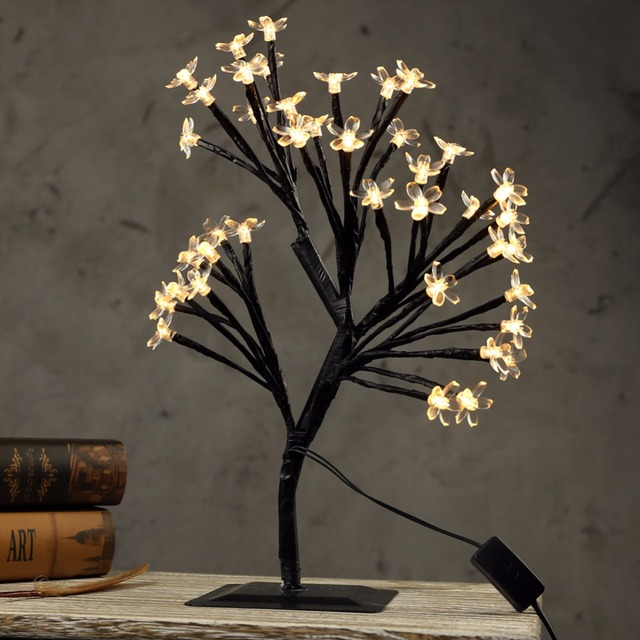 15.7 In 40 LED Crystal Cherry Blossom Tree Light Indoor Table Lamp  Luminaria Night Light For