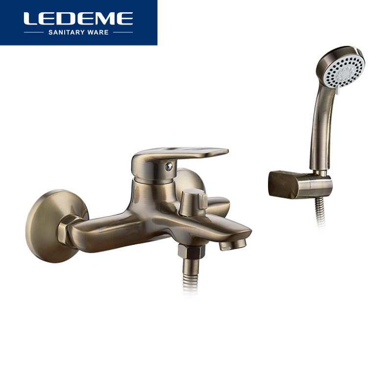 LEDEME Shower Faucet Wall Mounted Antique Brass Polished Bathtub Faucet With Hand Shower Bathroom Bath Shower Faucets L3248C