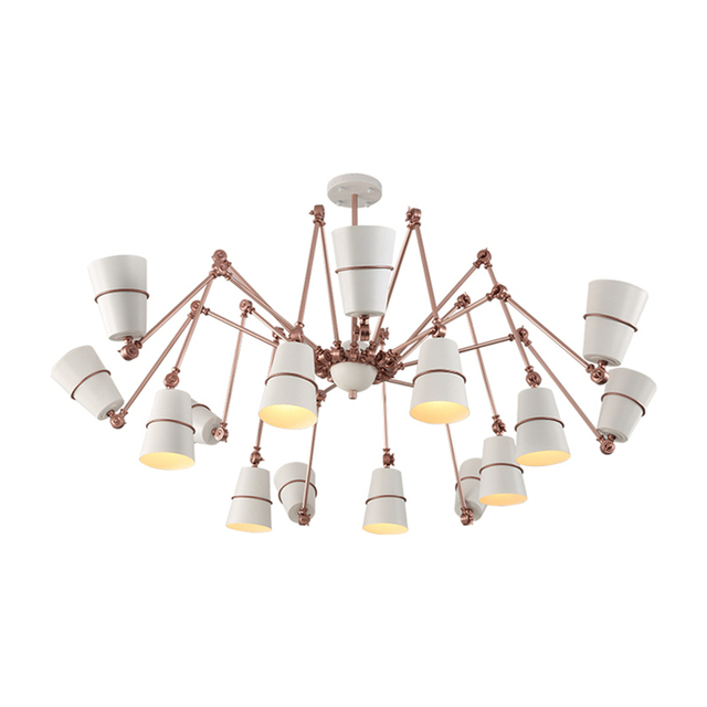 Modern Unfoldable 15 Light Spider Chandeliers Ligh Rose Gold With 5w E27led Lamp For Living Room