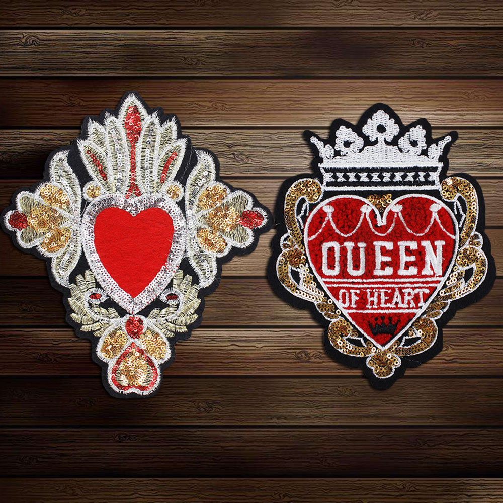 Us 5 85 14 Off 2piece Crown Heart Embroidery Applique Sequin Patches Motif Badge Embellishment For Clothes Decorated Diy Sewing A33 In Patches From