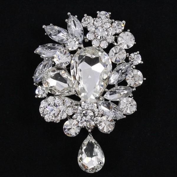 88973ed1efc Bridal Romantic Fashion Clear Crystal Rhinestone Droplets Flower Art  Nouveau Wedding Brooch Pins Pendants 3857