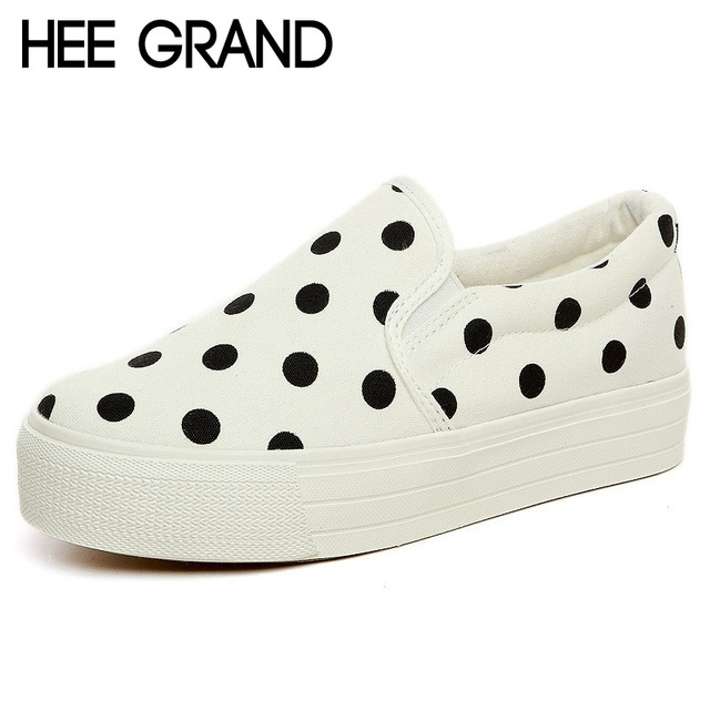 HEE GRAND Spot Canvas Shoes Woman Platform Loafers 2016 Spring Summer Creepers Slip On Flats Casual Women Shoes 4 Colors XWD3718