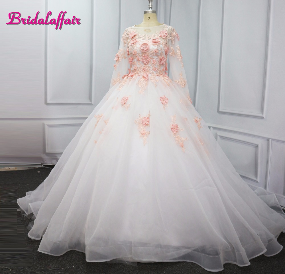 New Ball Gown Wedding Dresses 2018 Real Photo 3D Floral Handmade Flowers  Court Train Tulle Long Sleeves Cheap Bridal Gowns Video c1f2a5d1f6ae