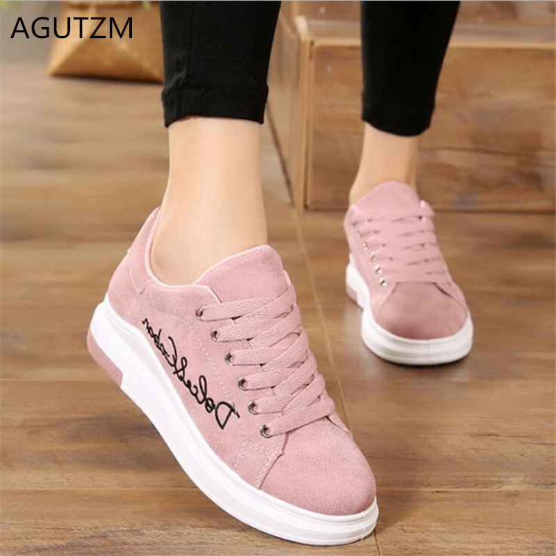 AGUTZM New Fashion Women Vulcanize Shoes Casual Shoes Spring Platform Ladies Shoes Lace-up Sneakers Zapatos Tenis Feminino Y16