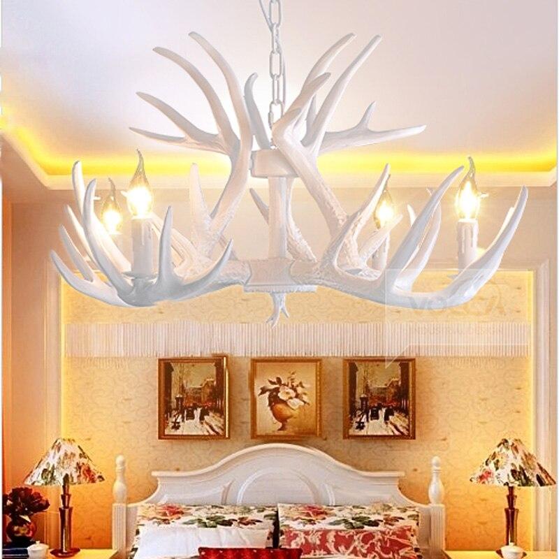 E14 Vintage Style Resin Deer Horn Antler Chandelier Light 4 / 6 / 9 Lights White Antler Mule Deer Hanging Suspension Lamp PL482 best quality supplement deer antler velvet extract 500g