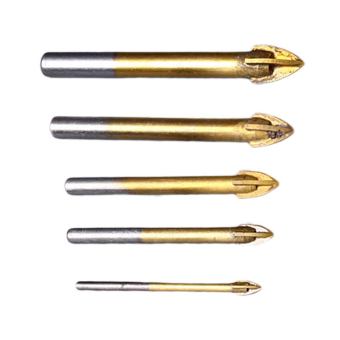 Titanium Ceramic Tile Glass Marble Drill Bit Tungsten Carbide Cross Spear Head 5/6/8/10/12mm