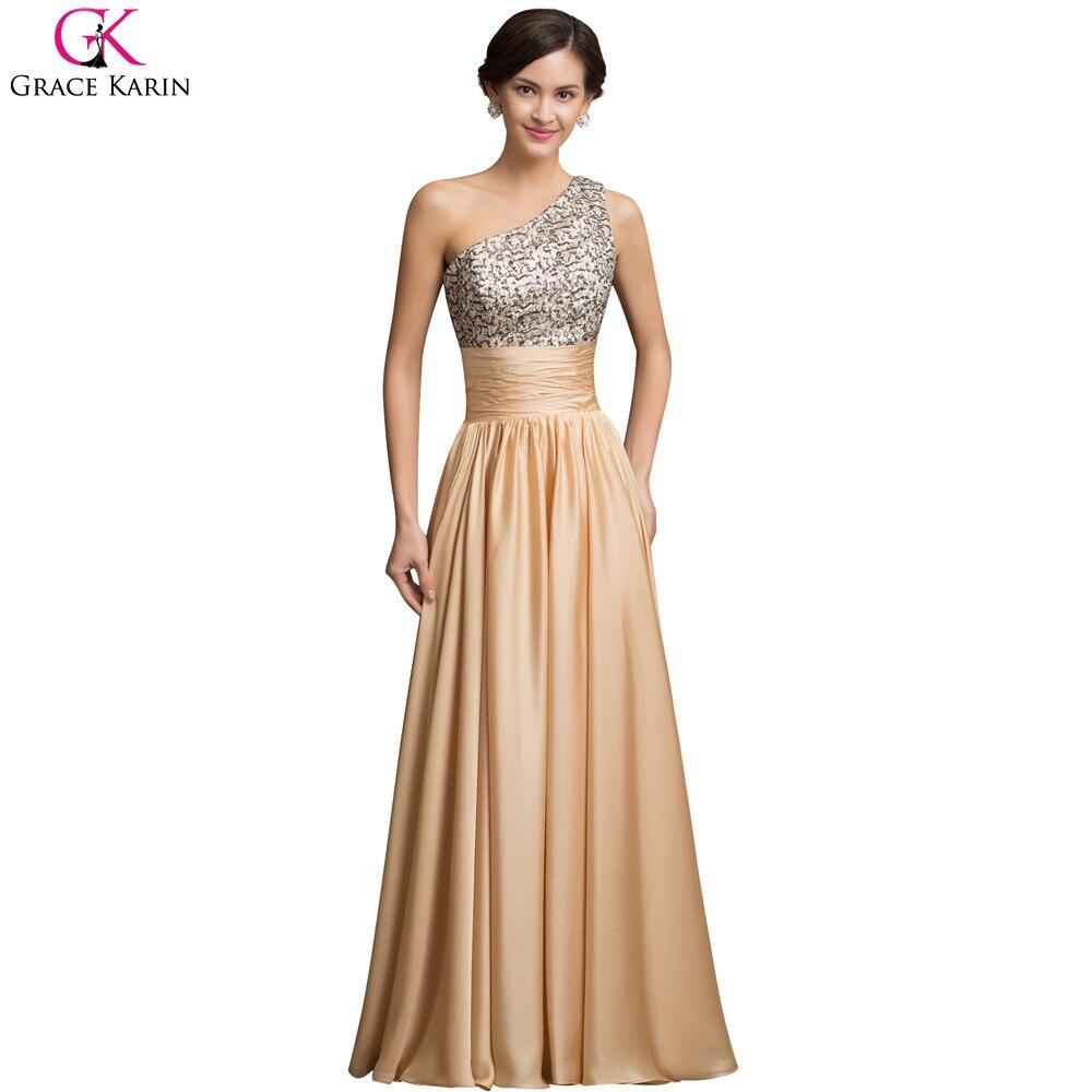 Grace Karin One Shoulder Sequin Evening Dresses A Line Floor Length ...