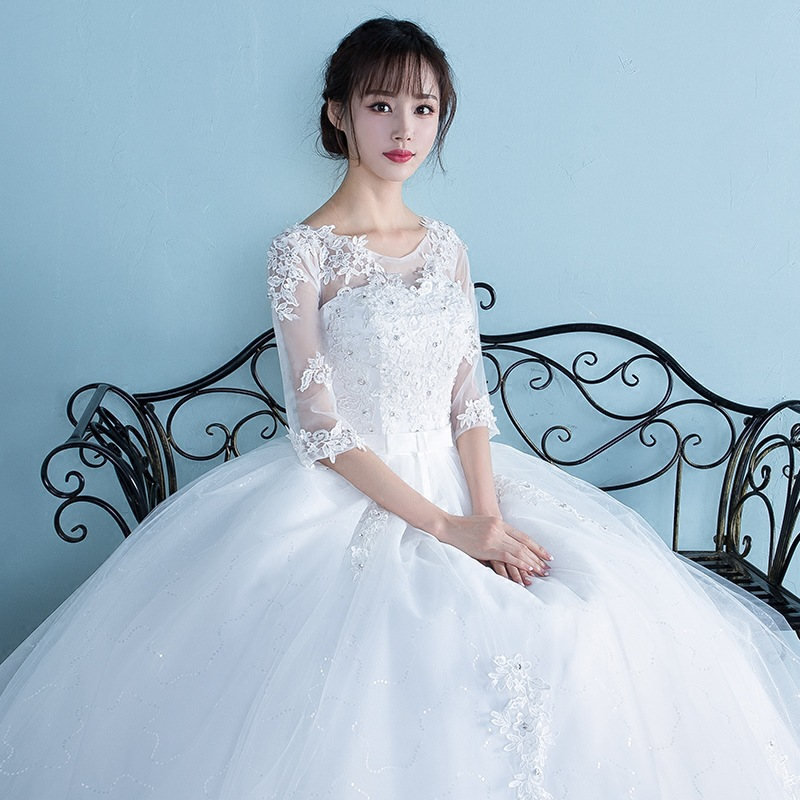 Femmes enceintes robe De mariée 2019 grande taille taille haute une épaule demi et manches courtes enceinte robe De mariée Vestidos De Novia